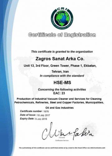 Iso certificates zagros sanat arka